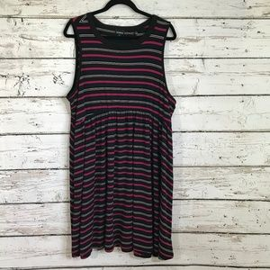 Torrid Black Pink Striped Sleeveless Dress